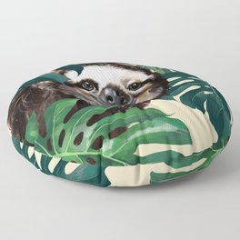 Sneaky Sloth with Monstera Floor Pillow