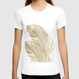 Palm Leaves Finesse Line Art with Gold Foil #2 #minimal #decor #art #society6 T-shirt