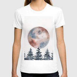 """watercolor """"Piemontite"""" moon with pines T-shirt"""