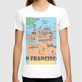 San Francisco Fine Art Print Retro Vintage Favorite Map with Touristic Highlights Active T-shirt