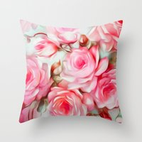 shabby chic Throw Pillows featuring Shabby Chic Pink by Jacqueline Maldonado