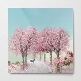 Cherry Blossom Lane Metal Print
