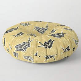 Black and Gold Japanese Origami Cranes Floor Pillow