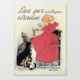 Vintage Art nouveau French milk advertising, cats, girl Canvas Print