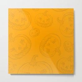 Jack O Lantern Pumpkin Pattern Metal Print