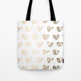 Luxe Gold Hearts on White Tote Bag