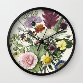 Bouquet of Flowers - Vintage Illustration, 1680 Wall Clock