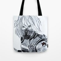 winter soldier Tote Bags featuring Winter Soldier  by Pruoviare