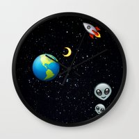 emoji Wall Clocks featuring Space Emoji by jajoão