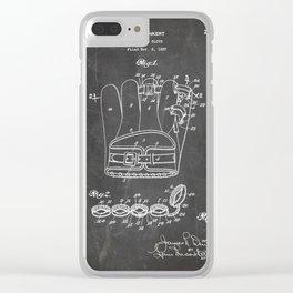 Baseball Glove Patent - Baseball Art - Black Chalkboard Clear iPhone Case