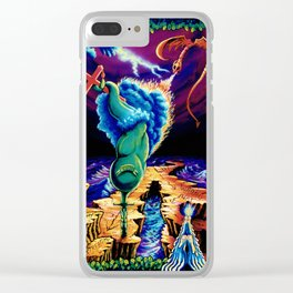 Trippy Psychedelic Surreal Visionary Art by Vincent Monaco - Strength Clear iPhone Case