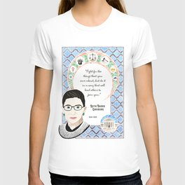 Ruth Bader Ginsburg Supreme Court Justice Tribute Watercolor Art Nouveau T-shirt