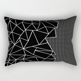 Abstract Grid Outline White on Black on Side Rectangular Pillow