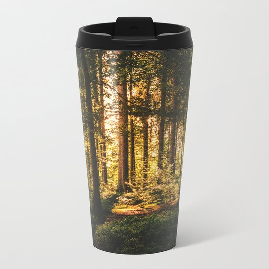 Woods  - Forest, green trees outdoors photography Metal Travel Mug