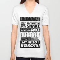 edm V-neck T-shirts featuring EDM death machine by Alex Terry