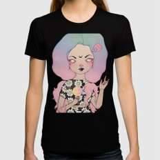 Flora LARGE Black Womens Fitted Tee