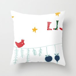 Holiday bird white Throw Pillow