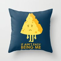 sayings Throw Pillows featuring It ain't easy being cheesy by Picomodi