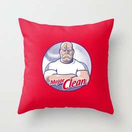 Major Clean Throw Pillow