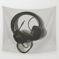 headphones Wall Tapestries featuring Headphones by GoAti