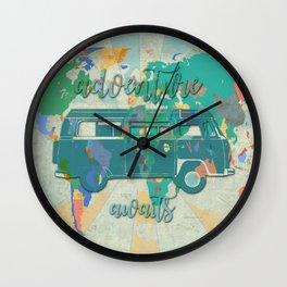 world map-adventure awaits 3 Wall Clock