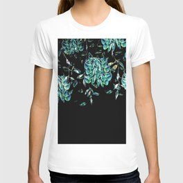 Jade Vine Tropical Floral Flower Teal and Black T-shirt