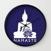 namaste Wall Clocks featuring Namaste by AleDan