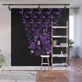 Purple Halloween Haunted House Bat Flyover Wall Mural
