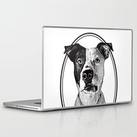 pit bull Laptop & iPad Skins featuring Pit Bull with oval frame by George Peters