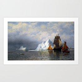 William Bradford Whaler and Fishing Vessels near the Coast of Labrador Art Print
