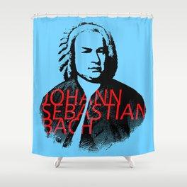 Johann Sebastian Bach portrait in grays with red text Shower Curtain