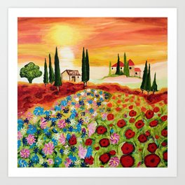 Tuscan Field of Poppies Art Print
