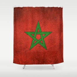 Old and Worn Distressed Vintage Flag of Morocco Shower Curtain