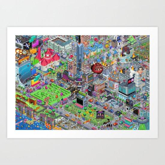 Videogame City V2.0 Art Print