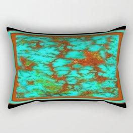 Black-Brown Turquoise December Birthstone Design. Rectangular Pillow