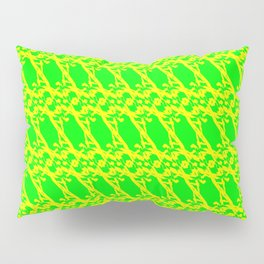 Strict pattern of yellow squiggles and green ropes on a monochrome background. Pillow Sham