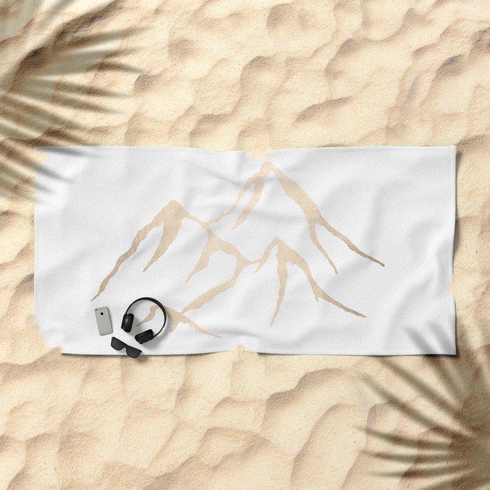 Adventure White Gold Mountains Beach Towel