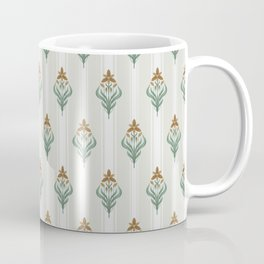 Seamless floral ornament in art Deco style. Ornithogalum umbellatum, the garden star-of-Bethlehem, grass lily, nap-at-noon, or eleven-o'clock lady. Coffee Mug