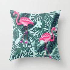 tropical pink flamingo Throw Pillow