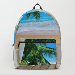 Balcony with a Beach Ocean View Backpack