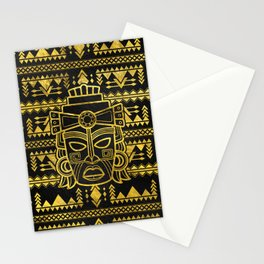 Gold  Aztec Inca Mayan Mask Stationery Cards