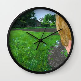 bubbles in the backyard Wall Clock