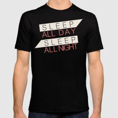 Sleep All Day Everyday MEDIUM Black Mens Fitted Tee