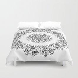 Black And White Floral Mandala Duvet Cover