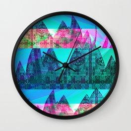 Retro Glitch Mountain Scene Wall Clock