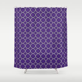 Indigo Purple Clover Pattern Shower Curtain