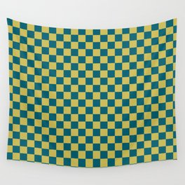 Dark Yellow and Tropical Dark Teal Inspired by Sherwin Williams 2020 Trending Color Oceanside SW6496 Small Checker Board Pattern Wall Tapestry