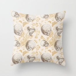 Skulls, Flowers and Butterflies pattern on ivory Throw Pillow