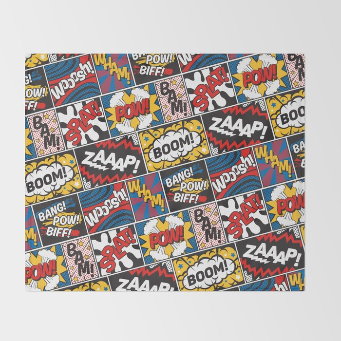 Modern Comic Book Superhero Pattern Color Colour Cartoon Lichtenstein Pop Art Throw Blanket