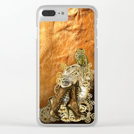 Gothic  - Steampunk sculptures On leather Clear iPhone Case